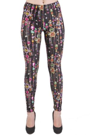 Black Dripping Jewels Ankle Length Leggings