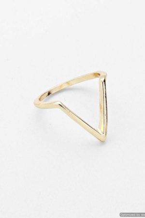 Chevron Metal Knuckle Mid Ring - Gold Tone