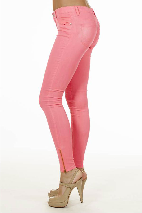 Ankle Zip Neon Pink Jeans