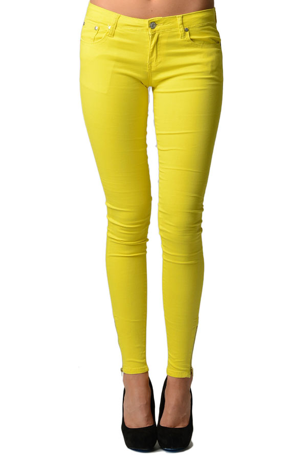 Ankle Zip Neon Yellow Jeans