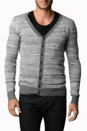 Smokey Grey Melange V Neck Cardigans