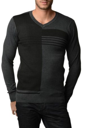Men's Polar Black And Charcoal V Neck Sweater