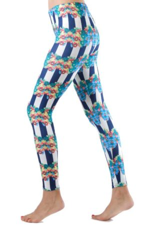 Navy Striped Floral Ring Footless Leggings