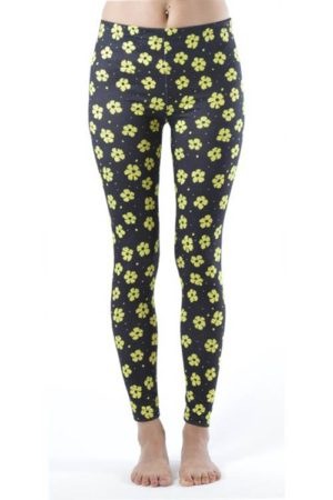 Yellow Flowery Spotted Footless Leggings