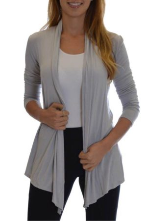 Silver Colored Waterfall Cardigan