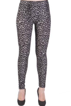Deep Grey Leopard Print Plus Size Leggings