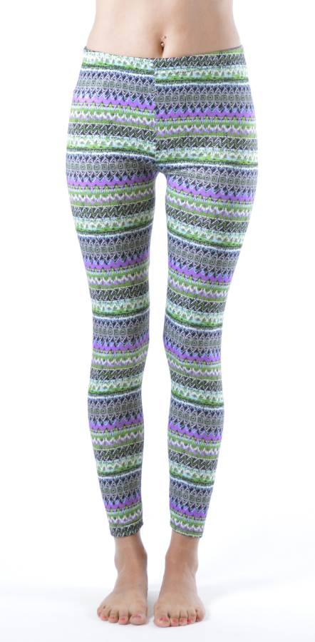 Vibrant Winter Tribal Ankle Leggings