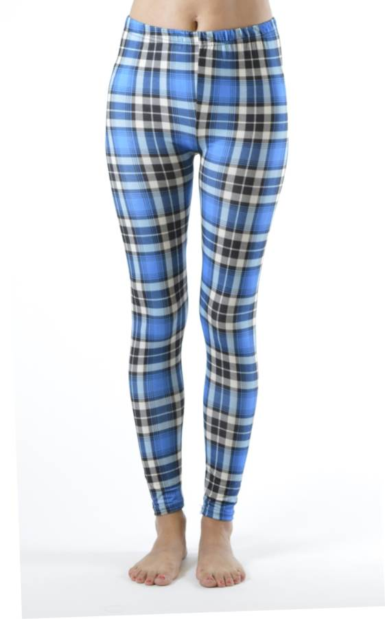 Plaid Baby Blue Ankle Leggings - Fashion Outlet NYC