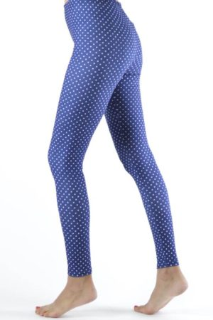 Polka Dot Navy Blue Ankle Leggings