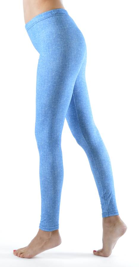 Baby Blue Denim Print Plus Size Ankle Leggings