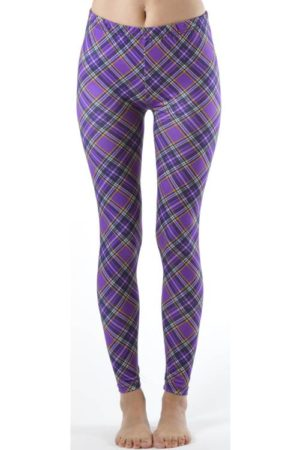 Footless Violet Patch Plaid Plus Size Leggings