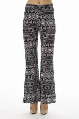 Low Waisted Navy Tribal Palazzo Pants