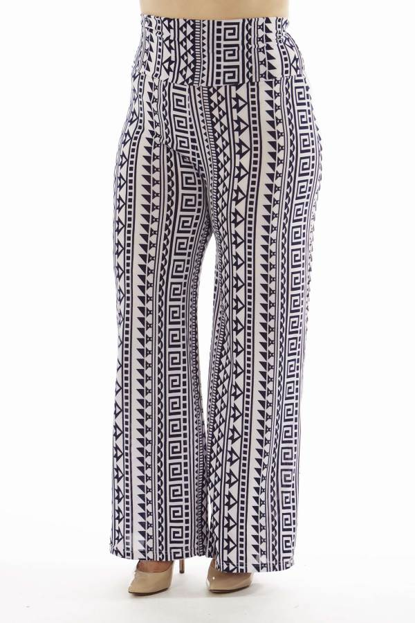 High Waisted Geometric Print Plus Size Palazzo Pants