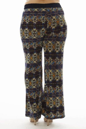 Boho Geometric Plus Size Wide Leg Palazzo Pants