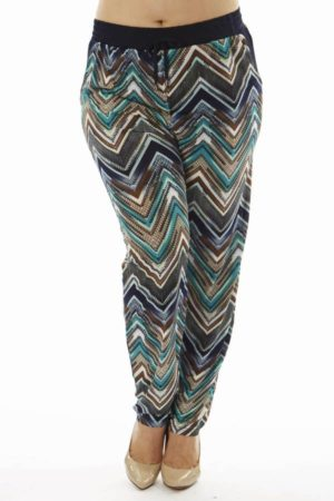 Plus Size Teal Chevron Print Soft Pants