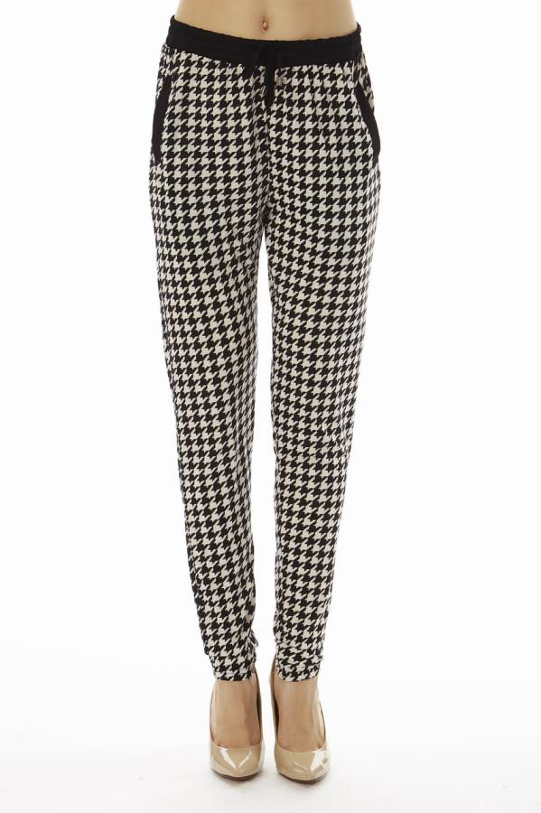 Houndstooth Print Jogger Pants