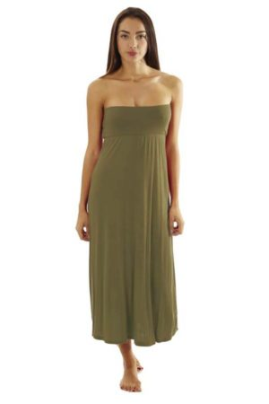 Fitted Waist Taupe Maxi Dress