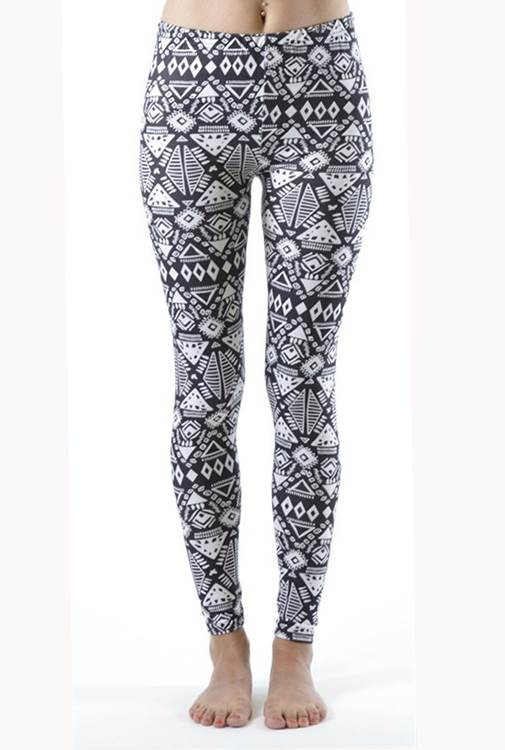 Funky White Tribal Ankle Leggings