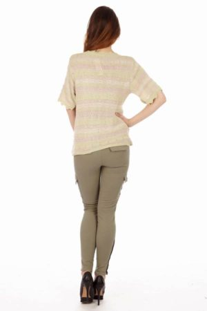 Dolly Striped Light Green Knit Top