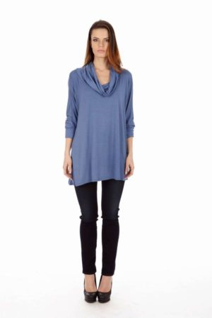 Denim Colored Long Sleeve Tunic