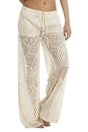 Cream Wide Leg Crochet Beach Pants