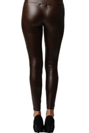 Dark Brown Leather Leggings