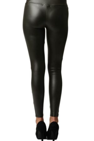 Dark Grey Leather Leggings