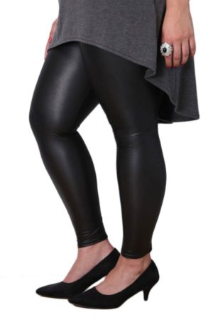 Plus-Size Black Leather Leggings
