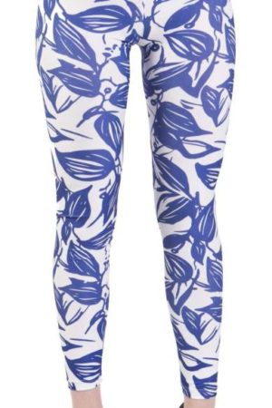 Blue Leaf Silhouette Plus Size Leggings