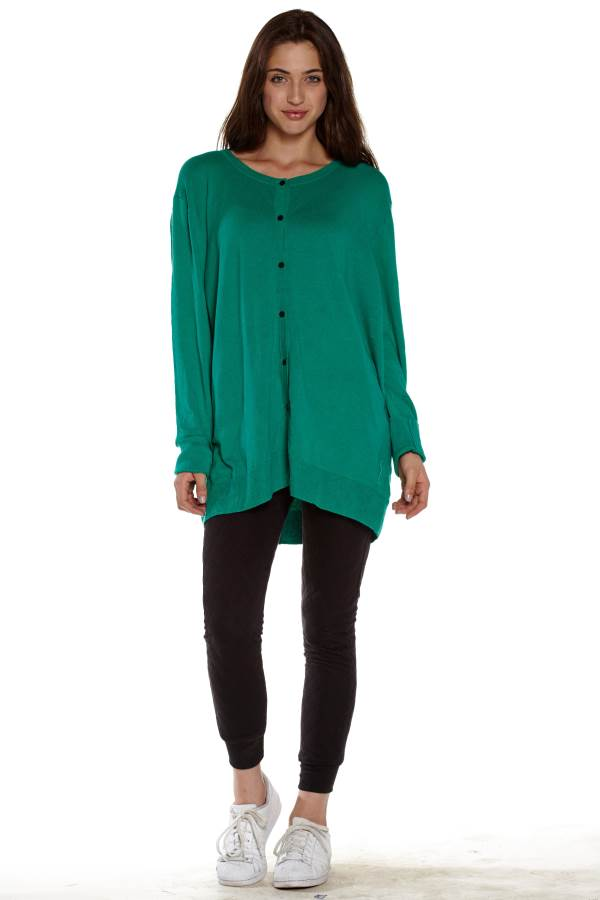 Green Button Down Knitted Cardigan