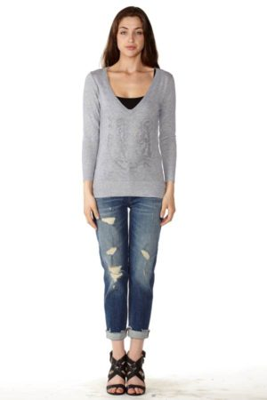 Light Grey V-Neck Sweater