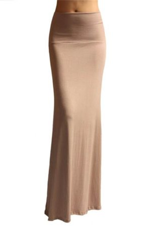 Fold Over Taupe Maxi Skirt