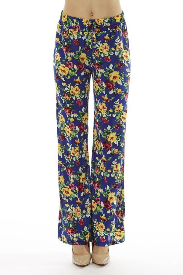 Blue Floral Wide Leg Palazzo Bottoms
