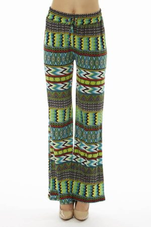 Chevron Tribal Print Evergreen Palazzo's