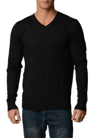 Black Cotton V-Neck Slim-Fit Sweater
