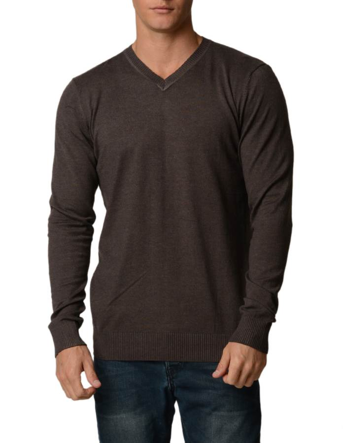 Coffee Cotton V-Neck Slim-Fit Sweater