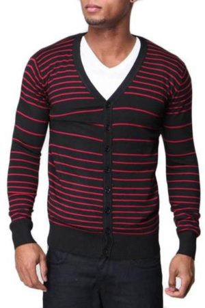 Men's Slim Fit Red Striped V Neck Black Cardigan