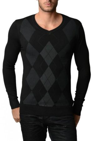 Men's V Neck Charcoal/Black Argyle Sweater