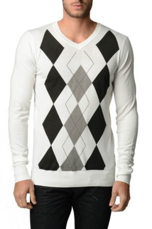 Men's V Neck Cream Argyle Sweater