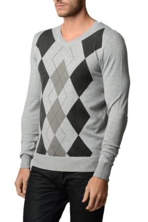 Men's V Neck L.Grey Melange Argyle Sweater
