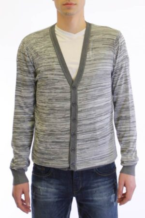 Ash Grey And Cream Melange V Neck Cardigan