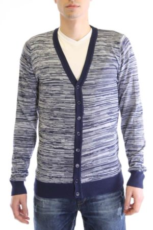 Navy And Cream Melange V Neck Cardigan