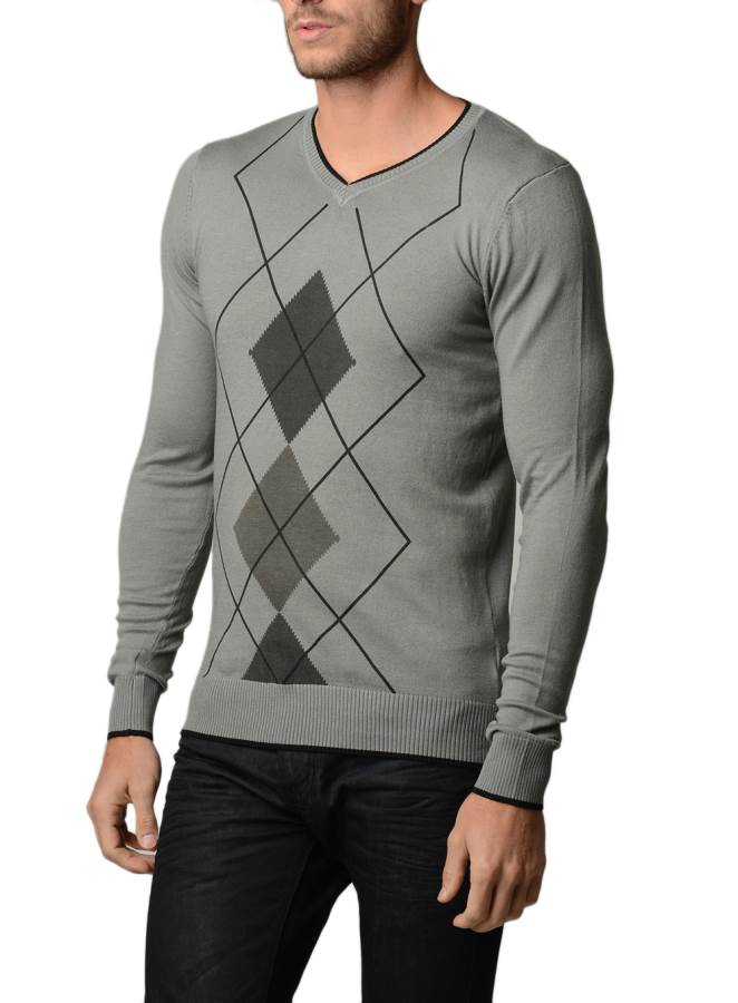 Mens Argyle Black Charcoal Grey Sweater Fashion Outlet Nyc