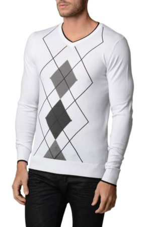 Men's White And Charcoal Grey Argyle Sweater