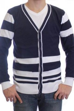 Indigo And White Varsity Cardigan