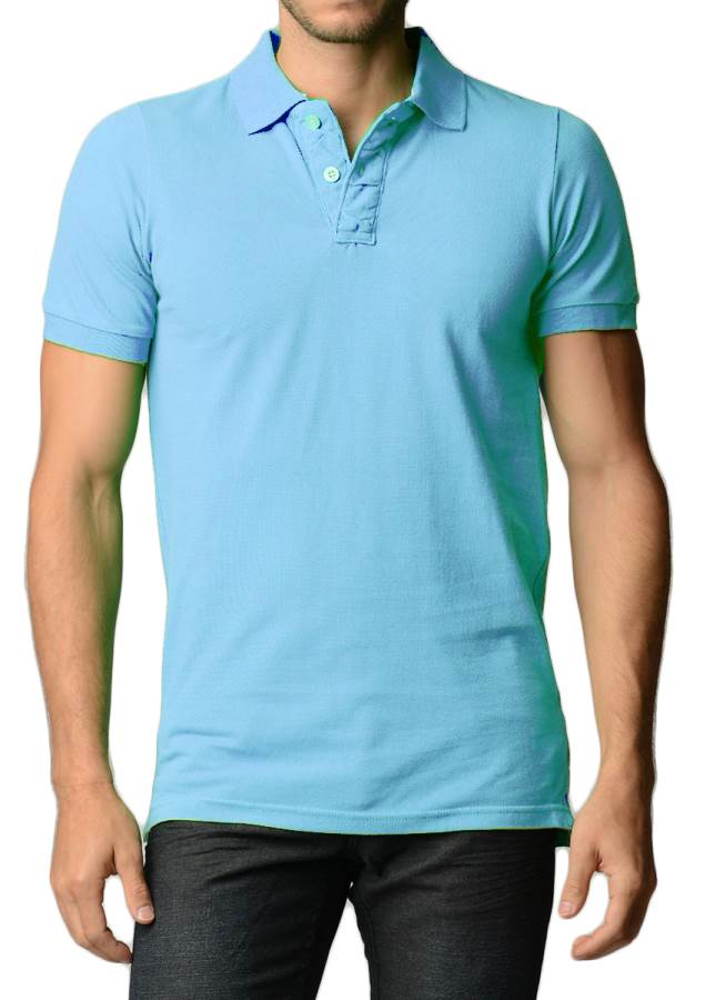 Men's Cotton Slim Fit Sky Blue Polo Shirt