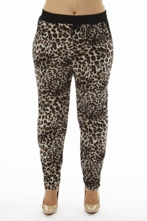 Brown Leopard Print Plus Size Soft Pants