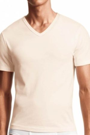 3 Pack-Men's V-neck Shirt- Cream