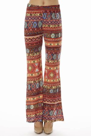 Coral Tribal Wide Leg Pants