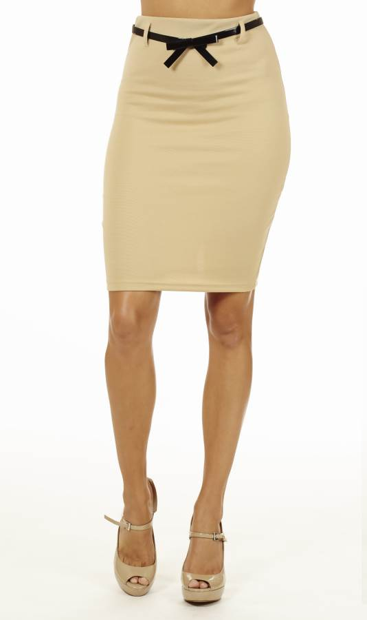 Classy Cream High Waisted Pencil Skirt